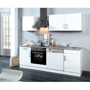 Küchenzeile mit Geschirrspüler Einbauküche mit Elektrogeräten 220 hochglanz weiß