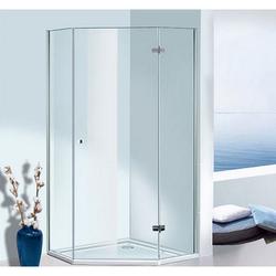 Sprinz BS-Dusche Fünfeck-Duschwand mit Flügeltür, 2 Festteilen