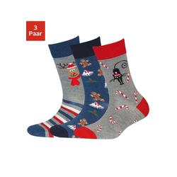 Sympatico Socken (3-Paar) mit Weihnachts-Design blau 35-38