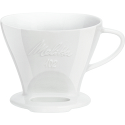 Melitta® Kaffeefilter Porzellan 102, Schnellfilter für besonders aromatischen Kaffee für Handfiltern, Farbe: weiß