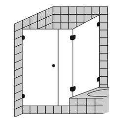 Sprinz BS-Dusche Eck-Duschkabine mit Duschtür, Festfeld und verkürzter Seitenwand für Badewannenrand