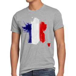 style3 Print-Shirt Herren T-Shirt Flagge Frankreich Fußball Sport France WM EM Fahne grau XL