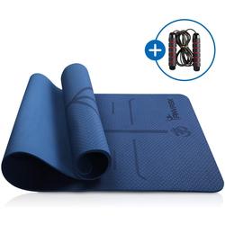 ANVASK Yogamatte Yogamatte mit Springseil Rutschfest Sportmatte für training Pilates Gymnastik, Fitnessmatte 183*61*0.6cm, Rutschfest
