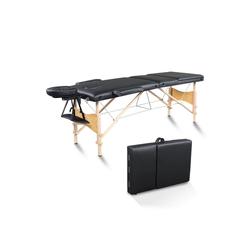 FCH Massageliege 3 Zonen Massagetisch (Set), Mobile Massagebett Klappbare Therapieliege Tragbare schwarz