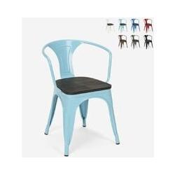 Chaises design industriel en bois et métal de style Tolix Cuisines de bar Steel Wood Arm | Turquoise