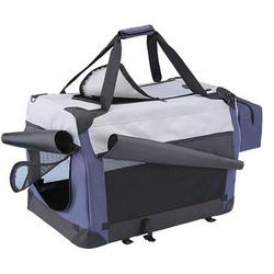 Hunde Reisebox Traveller Plus Nylon, L x B x H: 60 x 42 x 42 cm, blau/grau