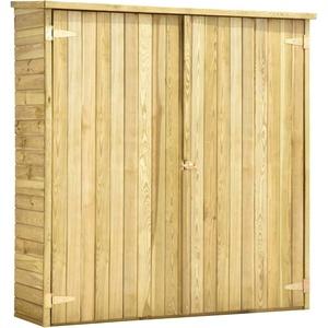 vidaXL Kiefernholz Imprägniert Garten Geräteschuppen Doppeltür-Design Gerätehaus Gartenschrank Geräteschrank Gartenhaus 163x50x171cm