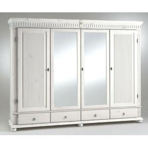 Massivholz Kleiderschrank 4türig Weiß Kiefer Massiv Spiegel Schlafzimmer-schrank