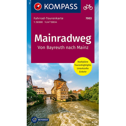 Fahrrad-Tourenkarte Mainradweg Von Bayreuth nach Mainz