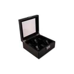 NIVREL Uhrenbox Uhrenkasten (1-tlg., inkl. Poliertuch), Edle Sammlerbox für 6 Uhren mit Sicherheitsschloss und Sichtfenster schwarz