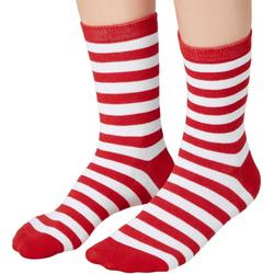 tectake Kuschelsocken Weihnachtssocken gestreift weiß-rot (1-Paar) 43-46