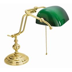 Licht-Erlebnisse Schreibtischlampe Vergoldete Tischlampe Echt-Messing 24 Karat E27 H:38cm Bankerlampe Jugendstil