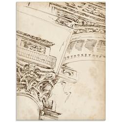 Artland Glasbild Architektur Skizzenbuch II, Architektonische Elemente (1 Stück) 60 cm x 80 cm x 1,1 cm