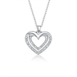 Elli Kette mit Anhänger Herz Kristalle 925 Silber Gioia, Herz