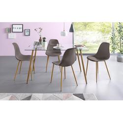 Essgruppe, (Set, 5-tlg), Eckiger Glastisch mit 4 Stühlen (Kunststoffschale) grau