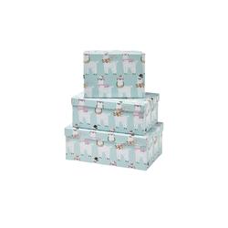 Basispreis* Aufbewahrungsboxen, 3er-Set   Alpaka ¦ blau ¦ Papier ¦ Maße (cm): B: 28,5 H: 19 T: 11
