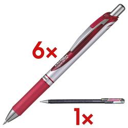 6x Gelschreiber »Energel BL 77« inkl. 1x Gel-Tintenroller »Hybrid Dual Metallic rot, Pentel