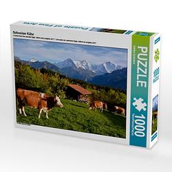Schweizer Kühe Lege-Größe 64 x 48 cm Foto-Puzzle Bild von Bettina Schnittert Puzzle