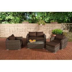 CLP Gartenmöbelset Gartengarnitur Madeira 2-1-1, Gartenmöbel-Set mit Polsterauflagen grau