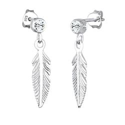 ELLI Damen Ohrringe 'Boho, Feder, Solitär-Ohrring' silber, Größe One Size, 4022900
