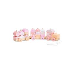 Navaris Spielzeug-Zug, Holzzug Spielzeug für Mädchen und Jungen - Zug Lokomotive aus Holz mit Würfel - Eisenbahn inkl. Holzbausteine - Holzeisenbahn zum Nachziehen rosa