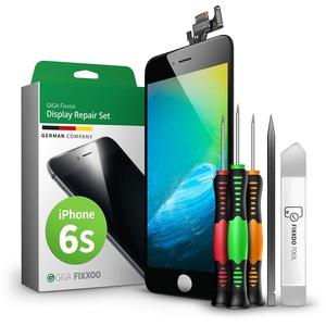GIGA Fixxoo Display-Set für iPhone 6s | SCHWARZ | vormontiertes Reparatur-Set komplett mit Frontkamera & Werkzeug-Kit, Ersatz Bildschirm | Retina LCD Glas mit Touchscreen