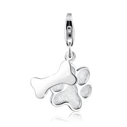 Elli Charm-Einhänger Hundepfote Tatze Knochen 925 Sterling Silber, Pfote