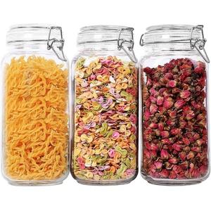 ComSaf 2,3L Luftdichtes Vorratsglas Eckig mit Drahtbügelverschluss 3er-Set für Lebensmittel Konservierung Frischhaltendosen Aufbewahrungsgläser