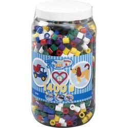 HAMA Bügelperlen Maxi - Vollton Mix 1400 Perlen (6 Farben) in Aufbewahrungsdos 8540