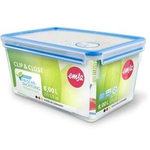 Emsa Vorratsdose Clip und Close 508548, Kunststoff, 8 Liter, luftdicht, transparent, eckig