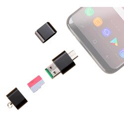 Mini-Cardreader & USB-Stick, für microSD(HC/XC) bis 128 GB, USB A & C
