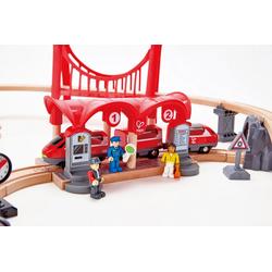 Hape Spielzeugeisenbahn-Gebäude Eisenbahn-Set - Verkehrsreiche Stadt