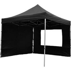 VCM PROFI Faltpavillon Partyzelt mit 4 Seitenteilen 3x3 m schwarz wasserdichtes Dach