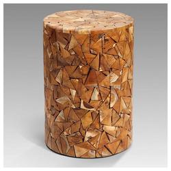 LebensWohnArt Sitzhocker Holzhocker TEAK Holz Recycelt Rund