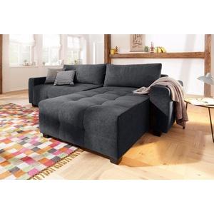 Home affaire Ecksofa Bella, wahlweise mit Bettfunktion und Bettkasten, Steppung im Sitzbereich grau