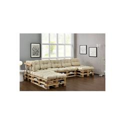 en.casa Palettenkissen, Ingenio Palettensofa 5-Sitzer Palettenmöbel inkl. Kissen Lehnen und 8 Paletten Beige beige