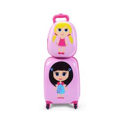 COSTWAY Kinderkoffer Kofferset, Kindergepäck, Reisegepäck, 2tlg Kinderkoffer + Rucksack, Pink