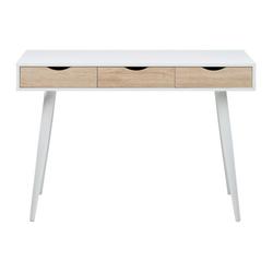 ebuy24 Schreibtisch Nete Schreibtisch in weiß mit 3 Schubladen in Eich