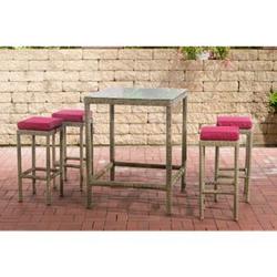 CLP Polyrattan Gartenbar-Set Alia 5mm I Rundrattan Gartenmöbel-Set Mit Tisch Und 4 Barhockern Inkl. Sitzkissen I In Verschiedenen Farben