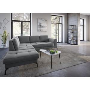 sit&more Ecksofa Bendigo V, inklusive Sitztiefenverstellung, Bodenfreiheit 15 cm, wahlweise in 2 unterschiedlichen Fußfarben grau
