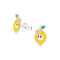 Monkimau Paar Ohrstecker Zitronen Kinder Ohrringe aus 925 Silber (Packung, Paar Ohrstecker)