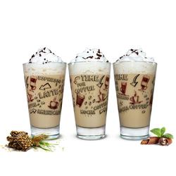 Sendez Latte-Macchiato-Glas 6 Latte Macchiato Gläser 310ml Kaffeegläser Teegläser mit Kaffee-Aufdruck braun