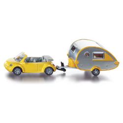 Siku Spielzeug-Auto SIKU 1629 PKW mit Wohnanhänger