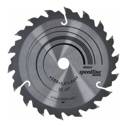 Bosch Kreissägeblatt Speedline Wood 160 x 16 x 2,2 mm 18