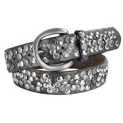 heine Nietengürtel, mit Metallnieten grau Damen Ledergürtel Gürtel Accessoires Nietengürtel