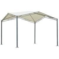 Outsunny Pavillon mit Sonnenschutz 3,3 x 3,3 m creme
