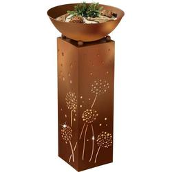 Easymaxx 04092 Außen-Dekobeleuchtung Säule mit Pusteblumen LED Warmweiß Rost