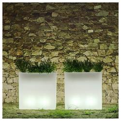 Licht-Trend LED Gartenleuchte leuchtender eckiger Blumentopf Junco Weiß