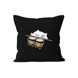 MoonWorks Dekokissen Bongo Cat Kissen-Bezug Meme Kissen-Hülle Deko-Kissen MoonWorks® schwarz