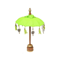 Oriental Galerie Sonnenschirm Kleiner Tischschirm aus Indonesien Grün Silber, Handarbeit grün